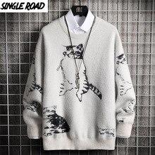 Knitted Sweater Jumper Pullover Oversized Harajuku Korean Men Hip-Hop Singleroad Winter