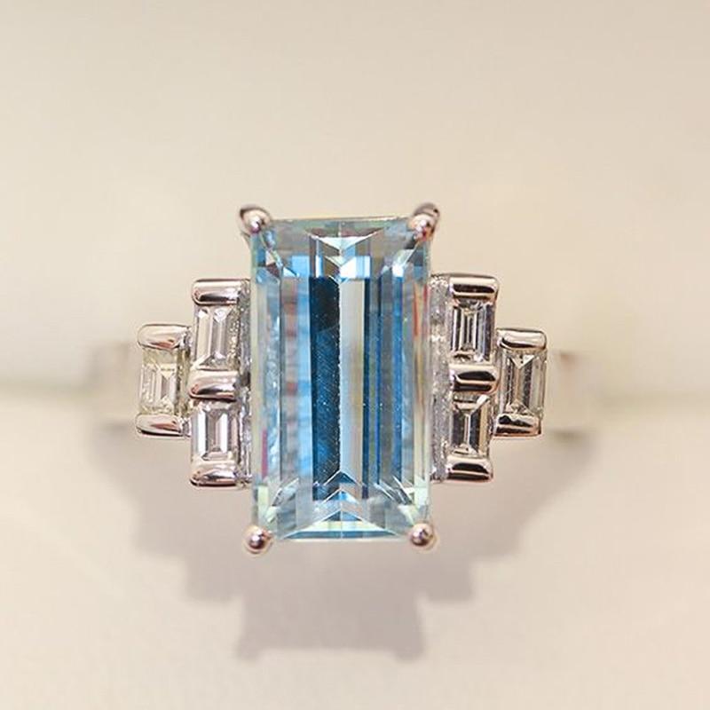 Huitan Geometric Cubic Zirconia Rings Female for Vintage Party Elegant Women Finger Accessories Luxury Retro Jewelry Wholesale