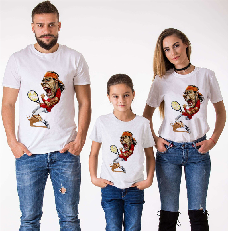 Spoof Nadal T-Shirts Family Matching Clothes Mommy And Me Clothes Federer Short Sleeve T-Shirt Boys Clothes McConaughey T-Shirt