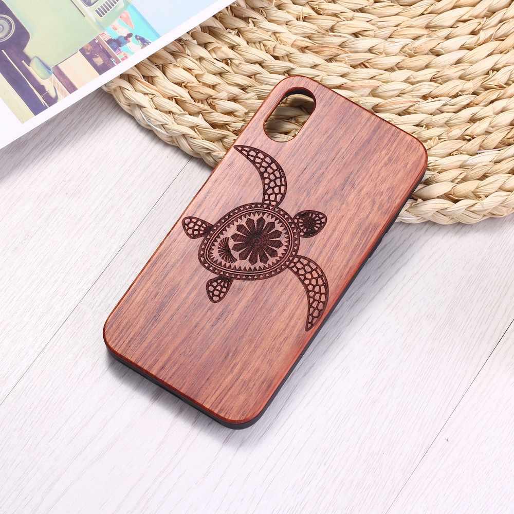 เต่าทะเลธรรมชาติไม้แกะสลักโทรศัพท์กรณี Coque Funda สำหรับ iPhone 6 6S 6Plus 7 7Plus 8 8Plus XR X XS สูงสุด 11 Pro Max