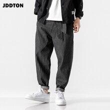 JDDTON Men's Loose Denim Harem Pants Stripe Sweatpant Full L
