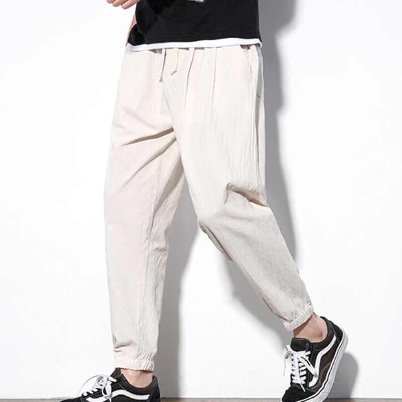 2019 Sinicism Autumn Men's Casual Linen Pants Men's Breathable Cotton Linen Trousers Male Chinese Flax Loose harlan Pants