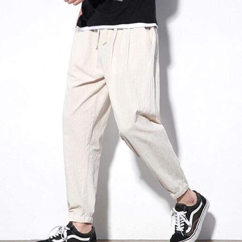 2019 Sinicism Autumn Men's Casual Linen Pants Men's Breathable Cotton Linen Trousers Male Chinese Flax Loose Harlan Pants