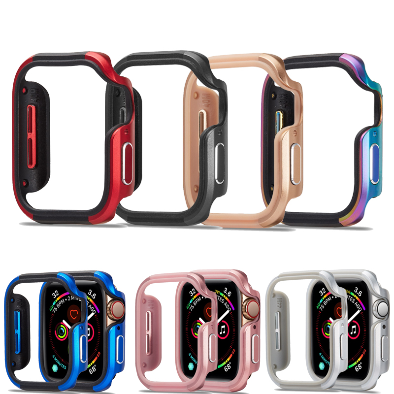Watch Case Compatible For Apple Watch Series 5 4 44/40mm Aluminum Alloy+TPU Protective Cover Shockproof Bumper Shell For Iwatch