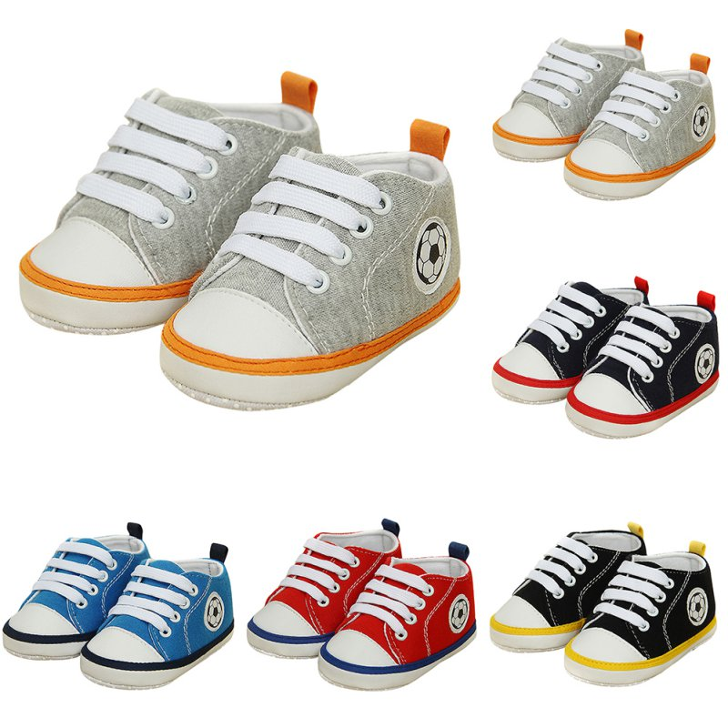 Baby Boy Soft Soled Sneakers Laces Up Sneakers First Walkers Prewalker Crib Shoes 0-18 M