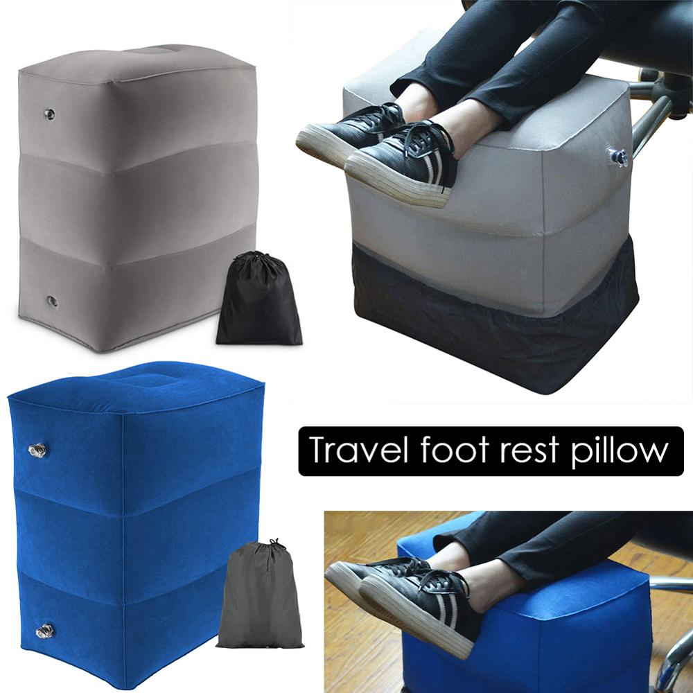 Inflatable Travel Sleeping Footrest Pillow For Kids Women Men Folding Adjustable Resting Pillow On Airplane Car Bus Foot Pad