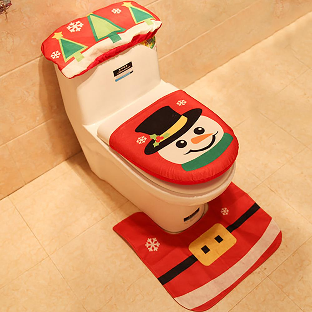 3pcs Christmas Decoration Navidad Xmas Party Supplies New Year Fancy Santa Claus Rug Seat Bathroom Set Contour Rug