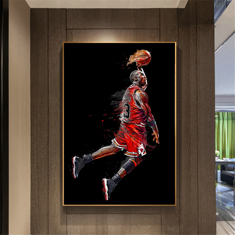 Современная картина без рамки Майкл плакат Джордан Fly Dunk Баскетбол настенные картины для Гостиная интерьер Спальня украшения
