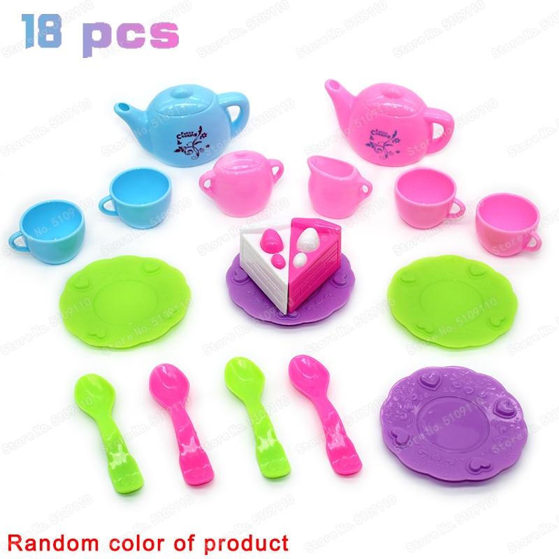 18 PCS  Kid Kitchen Miniature Food Simulation Toy Tea Set Gift For Girl Boy Kids Educational Toys Toy Kitchen For Girls Children