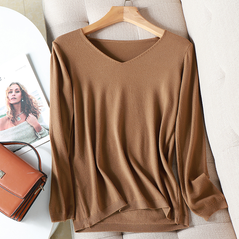 AOSSVIAO 2021 autumn winter Sweater Knitted Pullover women v neck oversize sweater female loose long sleeve sweater top Jumper