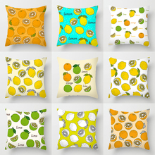 Double-sided Printing Polyester Custom Cushion Cover Blue Yellow Color Changing Lemon Orange Fruit Art Deco Fall Pillows Case