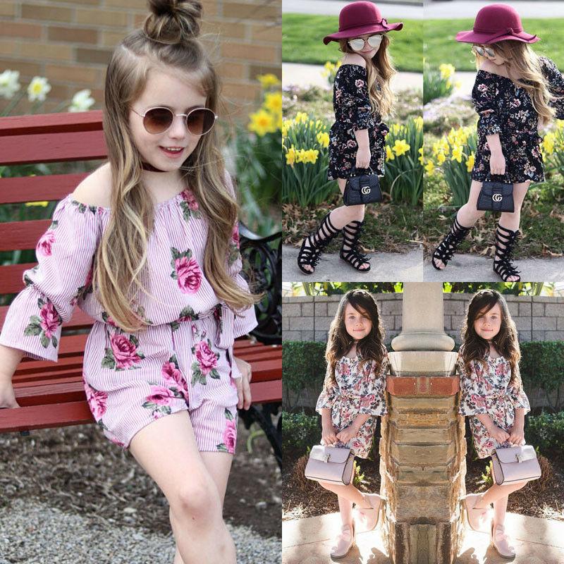 Toddler Baby Kids Girl Floral Romper Bodysuit Jumpsuit Outfits Sunsuit