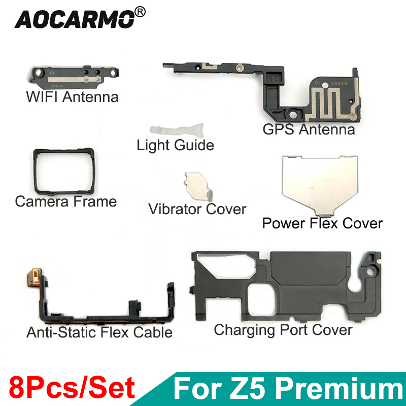 Aocarmo Charging Port Cover Holder Light Guide GPS WIFI Antenna Plate For Sony Xperia Z5 Premium Z5P Plus E6883 E6853 E6833 Dual