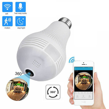 1080P HD WiFi Camera 360 VR Panoramic Fisheye Bulb Light Panoramic camera Home Security Security WiFi Fisheye Bulb Lamp