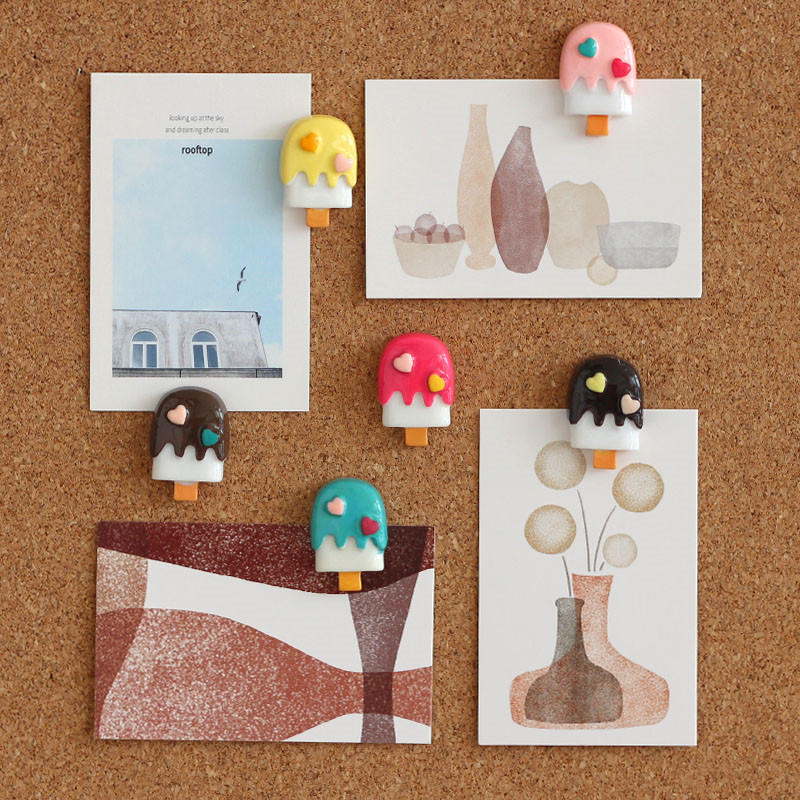 6pc Cute Kawaii Thumbtacks Push Pins Decorative Thumb Tacks Plastic Pretty Board Map Pins Ice Cream PushPin Office School Supply