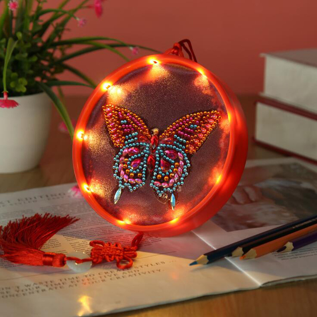 New LED Decoration Christmas Light DIY Drill Diamond Painting Light Night Lamp Pendant Bedroom Decorative Butterfly