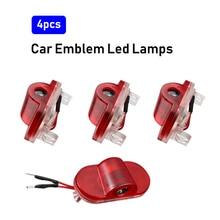 4Pcs LED รถโปรเจคเตอร์โคมไฟรถประตูบรรยากาศยินดีต้อนรับ Luces สำหรับกอล์ฟ4 MK4 1998 2004 r32อุปกรณ์ตกแต่งภายใน
