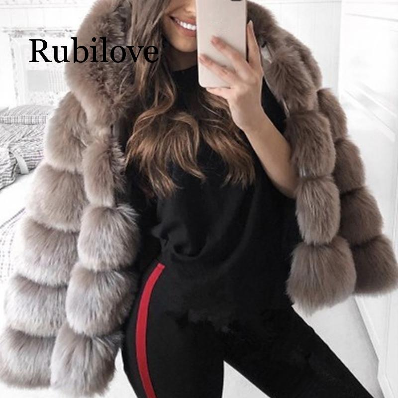 Rubilove Winter Thick Warm Faux Fur Coat Women Plus Size 3X Hooded Long Sleeve Jacket Luxury Coats
