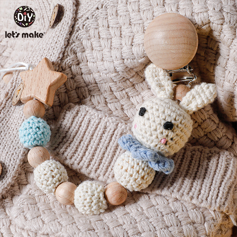 Let's Make1PC Baby Pacifier Chain Rabbit Panda Crochet Beads Wooden Clips Wood Teether Tiny Rod Dummy Clips For Children's Goods