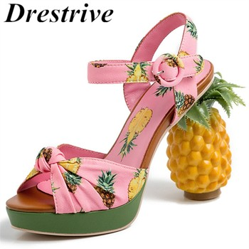 Drestrive Women Sandals Pineapple Thick Heel Platform Buckle 2020 Summer Female High Heel Shoes Fashion Print Fish Mouth