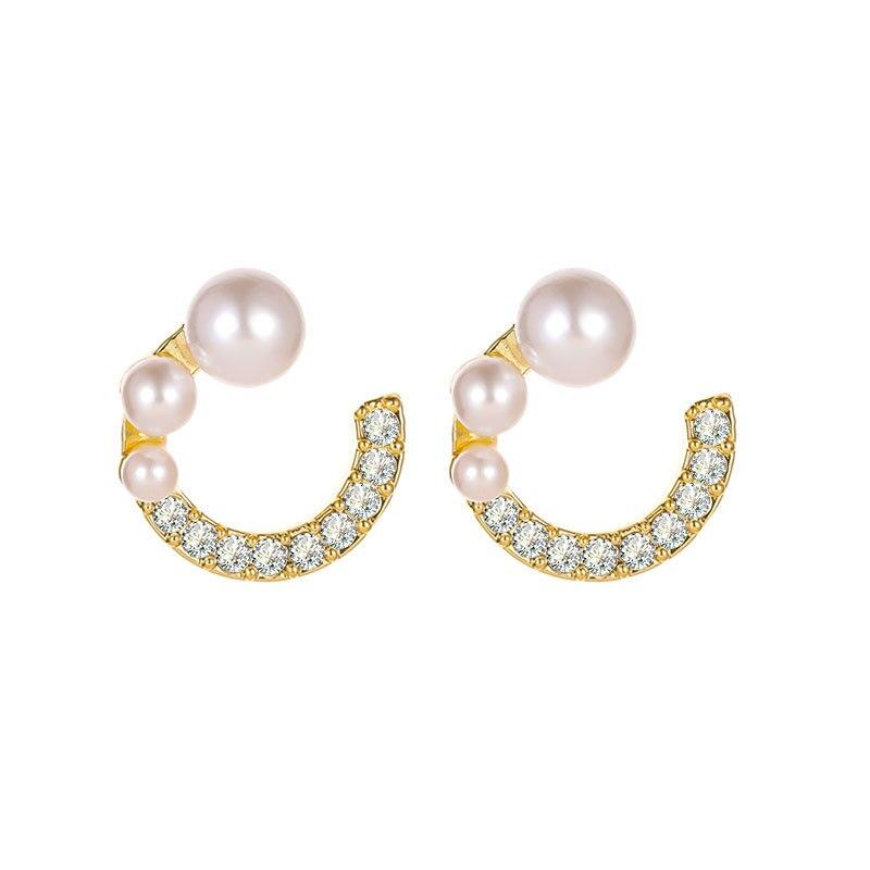 VILAGE Korean Versiaon of The New 2021 Simple Pearl Earrings Inlaid Zircon C-shaped Earrings Female Temperament Earrings