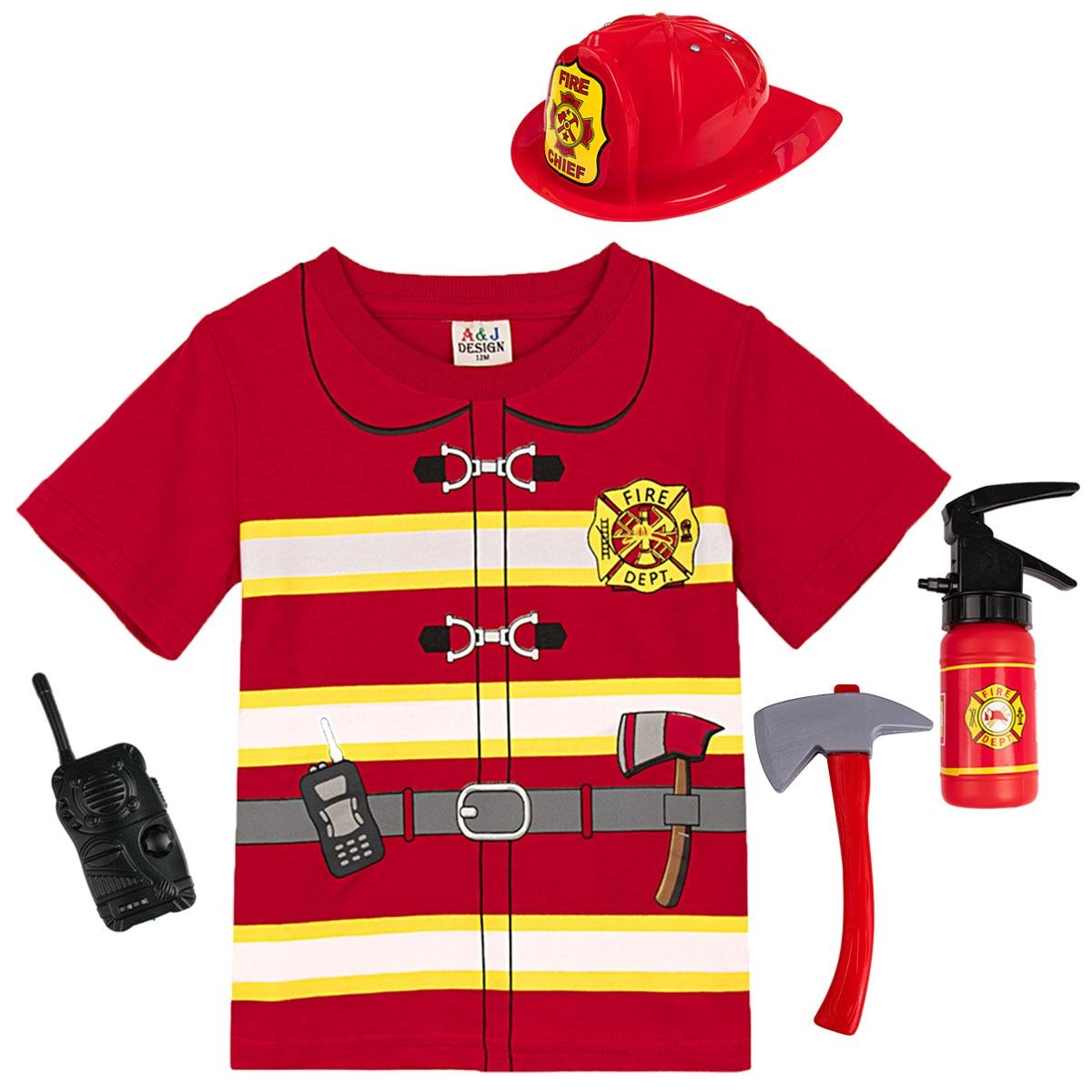 Детская футболка для мальчиков, косплей, пожарный, тяжелая хлопковая футболка, детские топы с короткими рукавами, Детская футболка с принто...