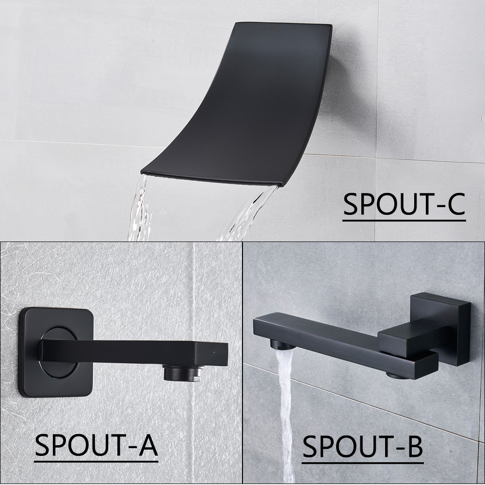 Matte Black Bathroom Shower Faucet Set Digital Display Rain Black Bath Shower System Waterfall Shower Bathtub Mixer Tap