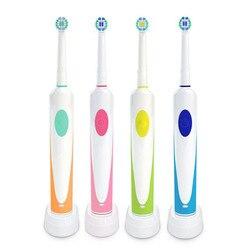 Profesjonalny elektryczny szczoteczka do zębów akumulator obrotowy z 2 obrotowy szczotka wymienna głowy wybielanie zębów dokładne czyszczenie 20 #814
