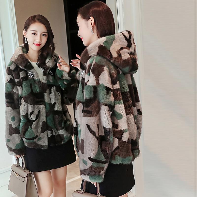 2019 invierno nuevo abrigo de piel de visón completo de moda corta simple camuflaje ejército verde cinturón con capucha chaqueta de piel de visón