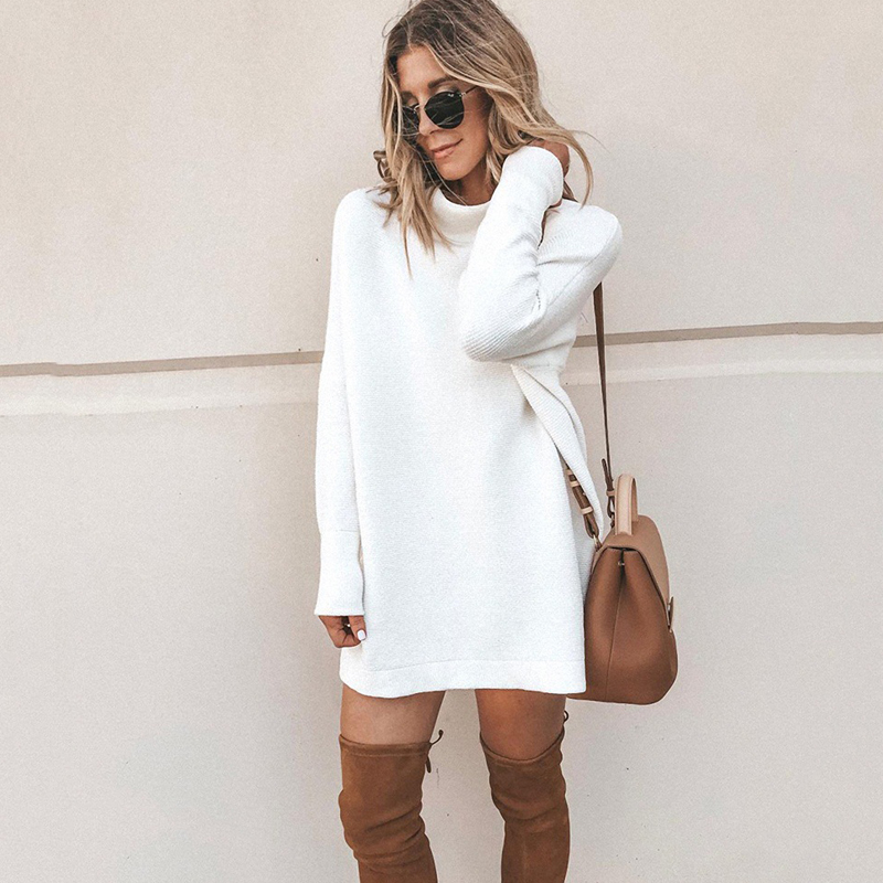 Long Sleeve Women's Knit Dress 2019 Autumn Winter Fashion Slim High Neck Lady's Knit Pullover Solid Casual Loose Straight Dress