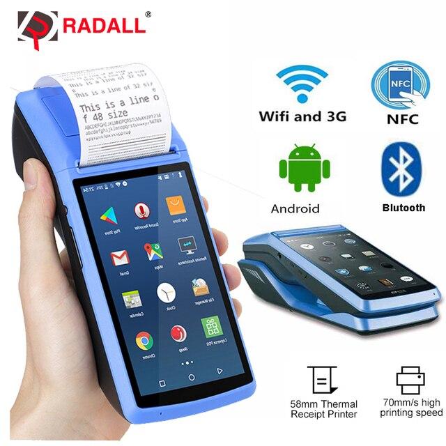 Système de point de vente Terminal PDA Scanner de codes à barres Android 3G WIFI Bluetooth sans fil imprimante thermique Machine de facturation NFC lecteur RD-M1 1