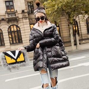 Image 4 - Ftlzz 새로운 겨울 다운 재킷 여성 느슨한 울트라 라이트 화이트 오리 코트 파커 여성 터틀넥 포켓 두꺼운 따뜻한 오버 코트