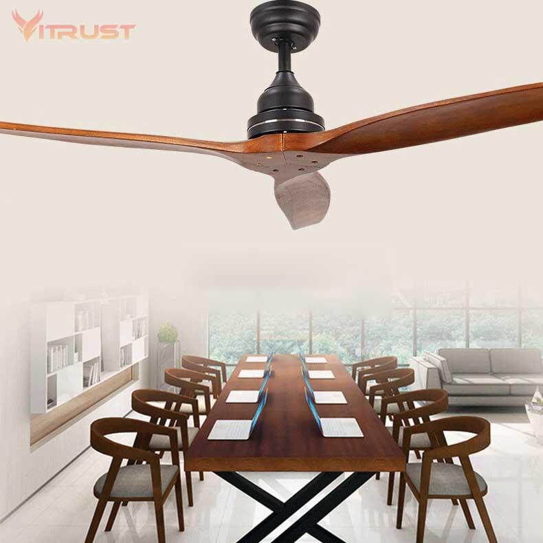 52'' Wooden Ceiling Fan Modern Remote Control Ventilators Home Living Room Decor