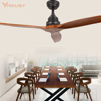 52'' Wooden Ceiling Fan Modern Remote Control Ventilators Home Living Room Decor