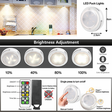 White Color LED Battery Lighting Puck Light Kitchen LED Touch Sensor Under Cabinet Night Light Bedroom Closet Wall Lamp Dimmable