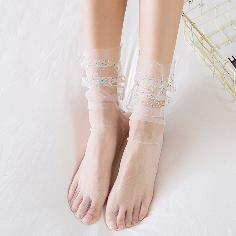 Süß Punkte Tüll Socken Damen Transparent Dünn Lange Buchse Spitzenkleid