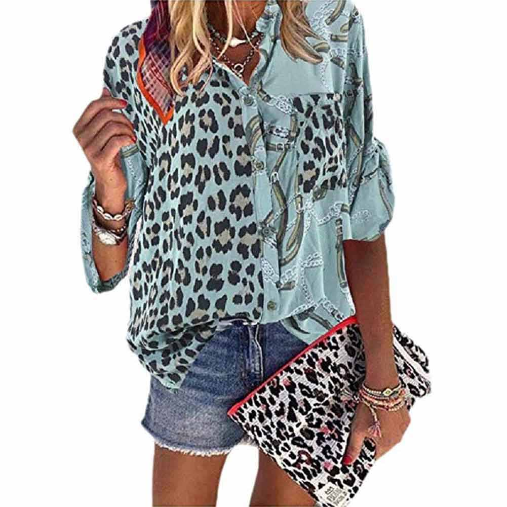 אביב נשים חולצה למבוגרים מזדמן לעמוד צווארון טוניקת חולצות אחוי הדפס מנומר יומי אלגנטי רופף ארוך שרוול אופנה כפתור