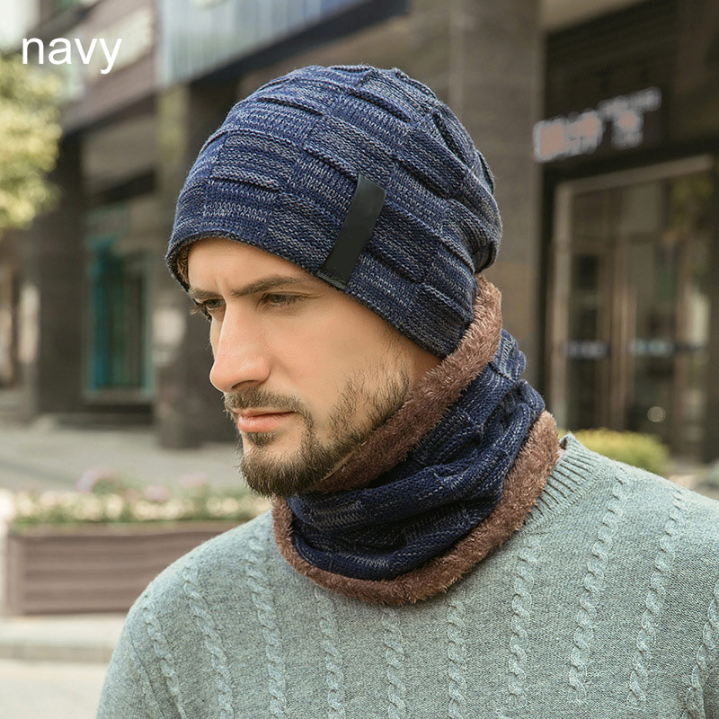 Hot Skullies Beanies Hat Ring Scarf Two-Piece Winter Hats Warm Plus Velvet Thick Wool Cap For Men Soft Elastic Bonnet Male Hats