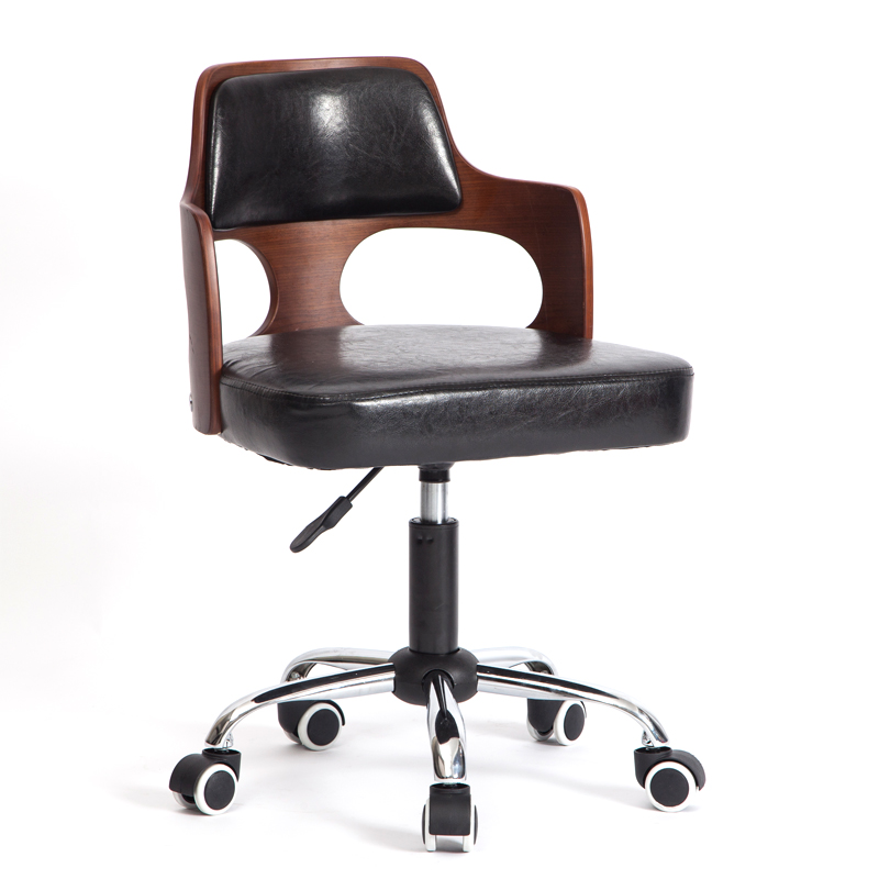 Solid Wood Lifting Small Family Desk Chair Modern Simple Computer Chair Compact Household Cowhide Office Staff Chair Swivel Chai