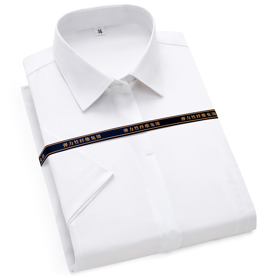 Paolo Sirum Brand Femal Office Blouse Short Sleeve Soft Non Iron Business Women Formal Shirts