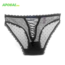 APOCAL Cross Sexy Lace Up Women Transparent Panties Tanga Female Underwear Hollow Out Sexi See Through Seamless Lingerie