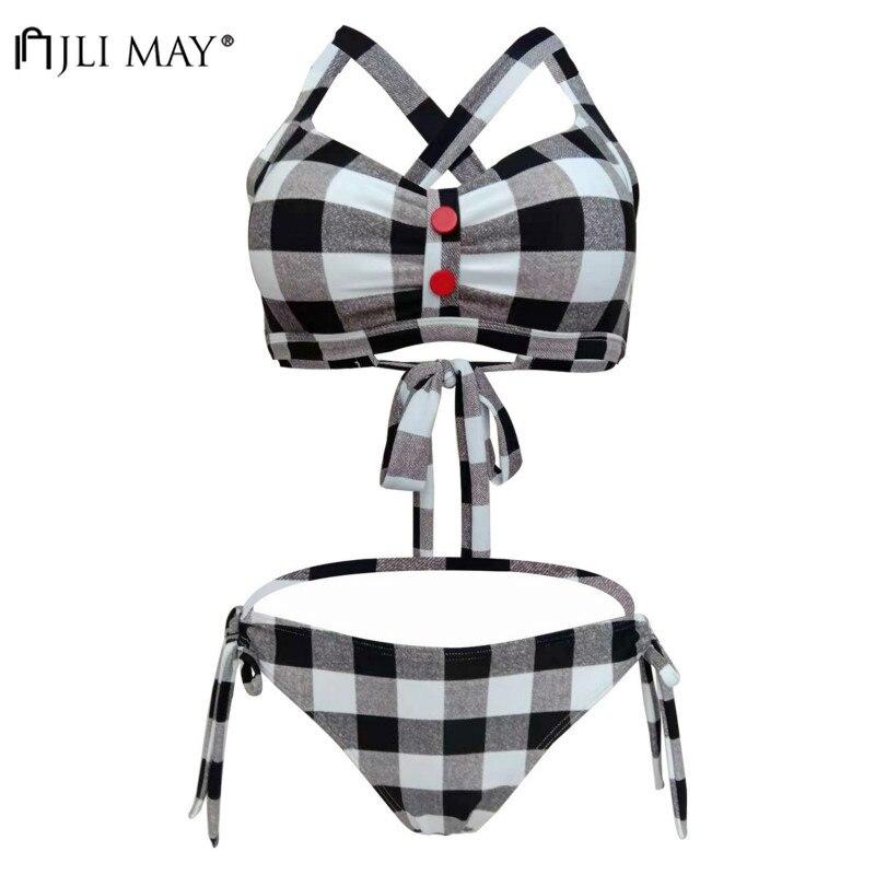 JLI MAY Sexy Plaid Bikini Two Piece Sweet Swimwear Dandage Button Women Backless Deep V-Neck Slim Strap Swimsuit Plus Size