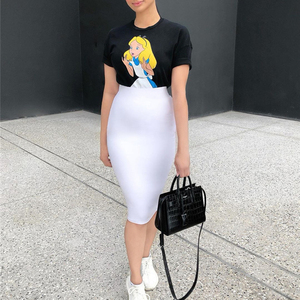 Image 3 - Colysmo 2 Layers High Waist Stretch Pencil Midi Skirt 2019 Women Elegant White Long Skirts Candy Colors Cotton Casual Skirt Gray