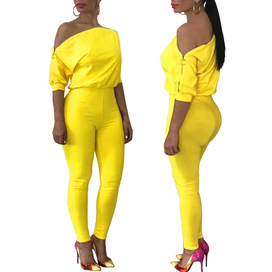 Fashion Nice Women Off Shoulder Skinny Bodycon Jumpsuits Zipper Short Sleeve Long Rompers Solid Slim Club Playsuit