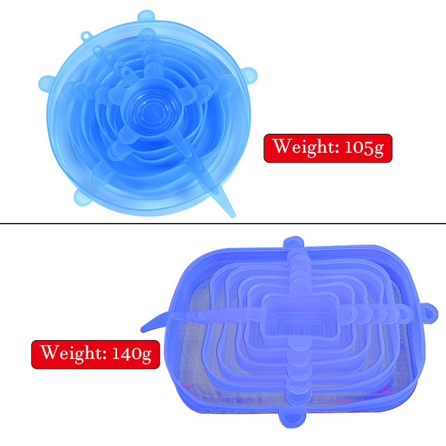 6pcs Reusable Silicone Food Cover Stretch Lids Universal Food Wrap Cover Food Fresh Keeping Silicone Caps Stretchable Magic Lid 4
