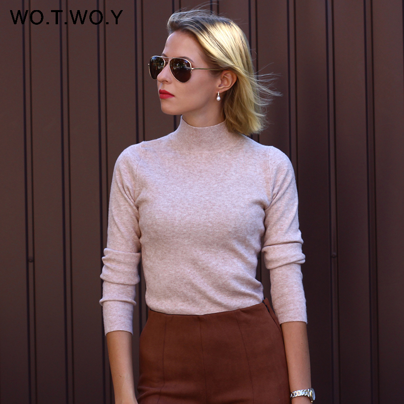 Женский свитер с высоким воротом WOTWOY, однотонный кашемировый свитер с длинным рукавом, базовый облегающий свитер 2020|Водолазки|   | АлиЭкспресс