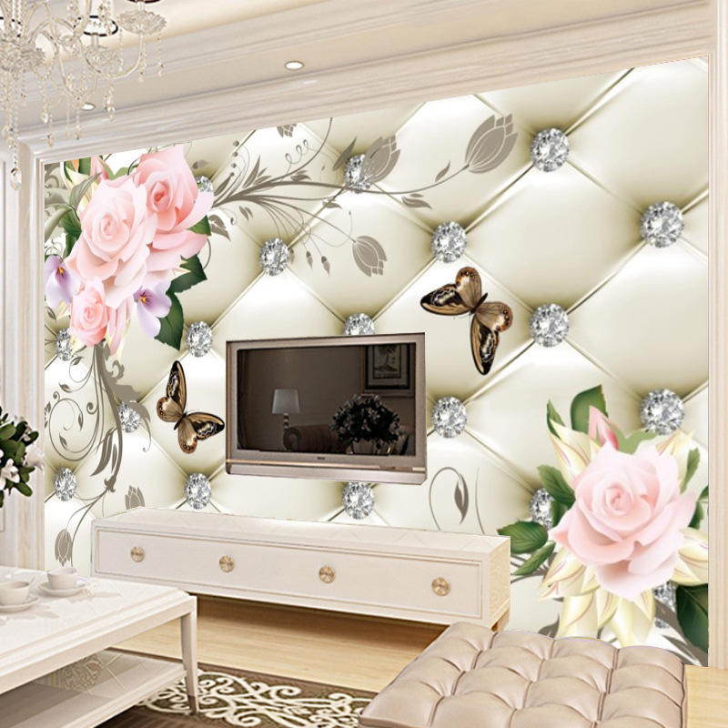 Large Mural Seamless 3D European Soft Roll Diamond Living Room Television Background Wall Wallpaper Wall Cloth Wallpaper Mural