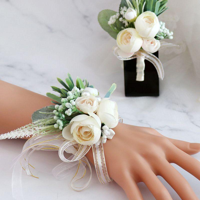 Handmade Imitaion Silk Tea Rose Blossom Fake Berries Boutonniere Wrist Corsage