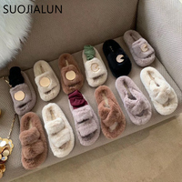 SUOJIALUN 2019 New Winter Women Furry Slippers Warm Plush Hair Fluffy Sandals Ladies Slip On Outdoor And Home Flip Flops Slides