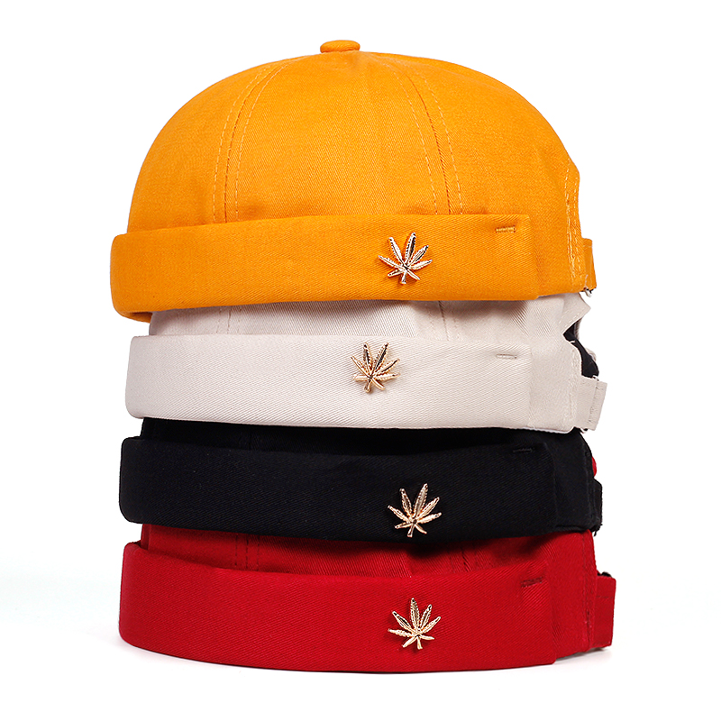 Menwomen Skull Cap Sailor Headdress Leaf Rivets Embroidery Warm Rolled Cuff Cap Blanket Brimless Plain Hat Adjustable Cotton Hat